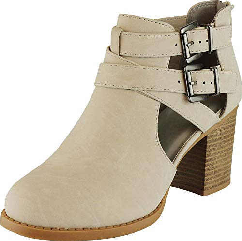 Image of Cambridge Select Women's Side Cut Out Buckle Chunky Stacked Heel Ankle Bootie (6.5 B(M) US, Light Taupe NBPU)