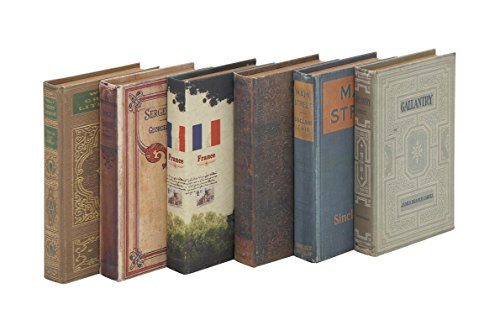 Deco 79 50293 Wood Fabric Book Box (Set of 6), 6