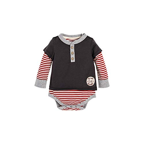 Bodysuit, Short Sleeve and Long Sleeve One-Piece Bodysuits, 100% Organic Cotton, Zinc Stripe 2Fer, 12 Months