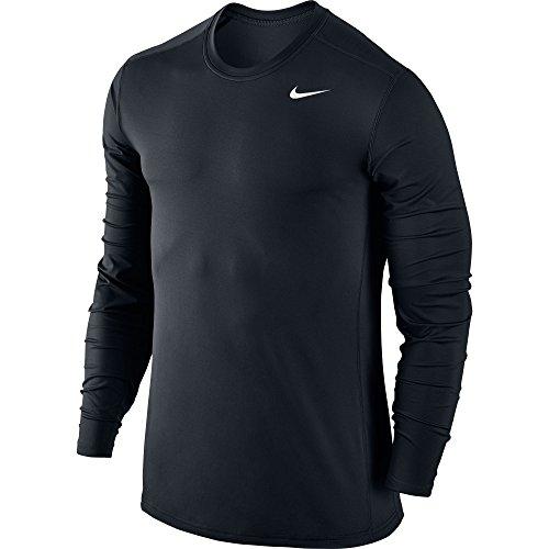 New Nike Men's Pro Cool Baselayer Crew L/S Shirt Black/Black/White Large