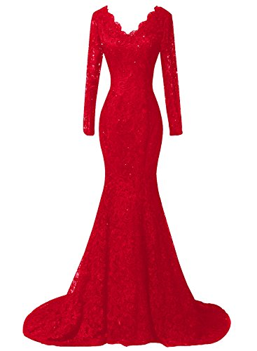 Duraplast With Women's Lace Evening Dress Long Mermaid Gown Red Sleeve Plus Size rrpFfCq