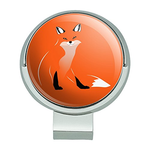 GRAPHICS & MORE Stylish Red Foxy Fox Golf Hat Clip with Magnetic Ball Marker - Fox Golf Headcover