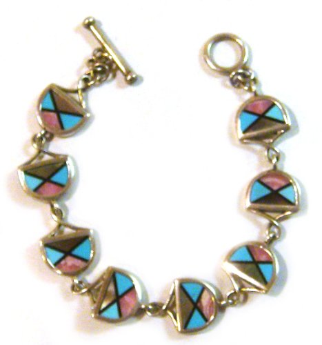(TAXCO .925 Sterling Silver Link Bracelet With Multi Stone Inlays double sided)