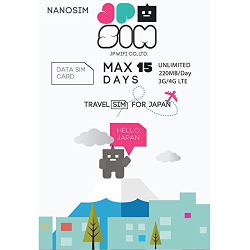 JAPAN TRAVEL SIM card JPSIM 1day/200MB MAX15days nanoSize Package+SIM card adapter&SIM Pin by JPSIM