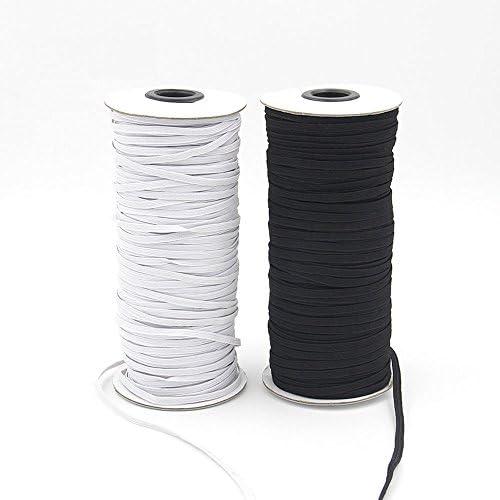 Cinta elástica plana de 10 m, color negro y blanco 3mm x 10meters ...