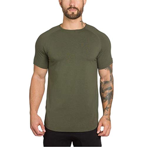 YOcheerful Men Solid Muscle Shirt Tee Top Boy Short Sleeve Sweatshirt Club bar (Army Green,S)