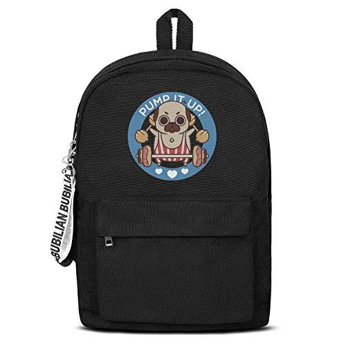 Dog Pump It Up French Fries Hamburgers Hot Dogs Unisex Canvas Backpack Design Satchel Small Backpack for Girls Boys -