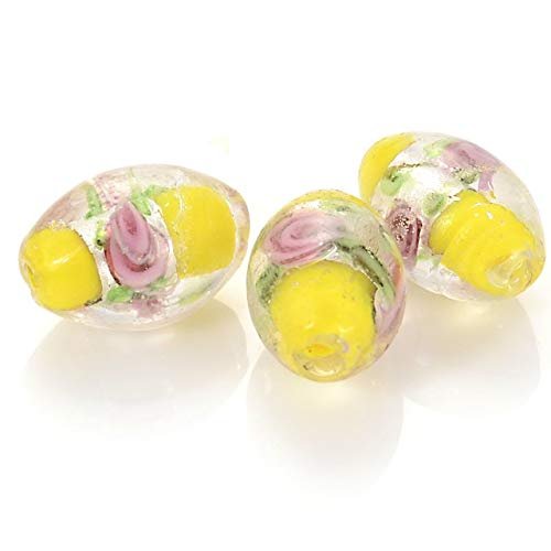 - Pukido 10 Pcs Glass Chamilia Beads Oval Silver Foiled Glass Lampwork Spacer Beads with Flower for DIY Jewelry Making Accessories - (Color: Yellow)