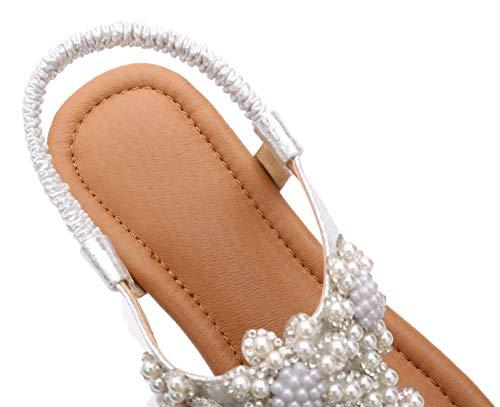 Confortables Bouts Mode Fortuning's Bohème Plage à Ouverts de d'été Perlé JDS® Sandales Argenté Chaussures 7qvwg