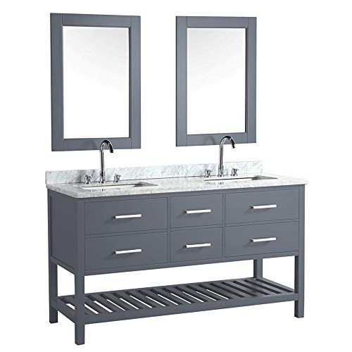"""LC61BGW Valencia 61"""" Double Vanity Set in Gray with Carrara Marble Top, Sink, and Mirror"""