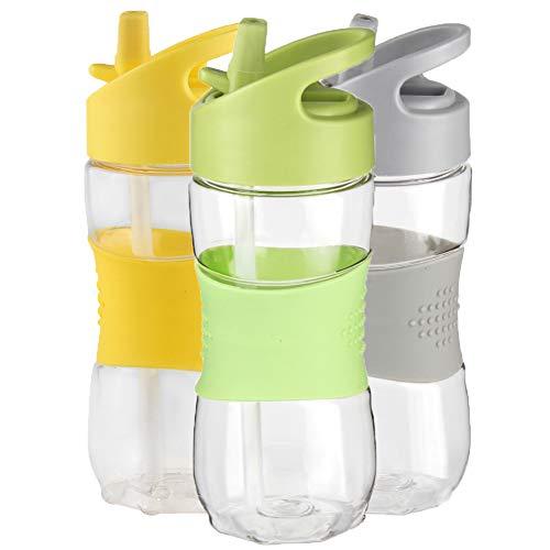 Sport Water Bottle with Straw & Handle by Sivaphe, BPA Free Tritan Leak-Proof for Gym Yoga Running Cycling School (Green)