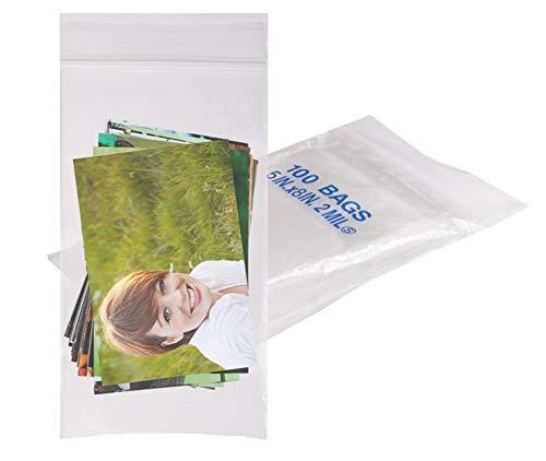 100 Pack Clear Poly Bags 5x8. Self Lock Plastic Bags 5 x 8. Thickness 2 mil. Self Sealing Zip Lock. Reclosable & Resealable Zipper & Reusable. FDA Grade Food Storage. SelfLock.