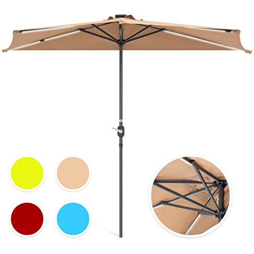 (Best Choice Products 8.5ft Solar LED Strip Lighted Half Patio Umbrella - Tan)