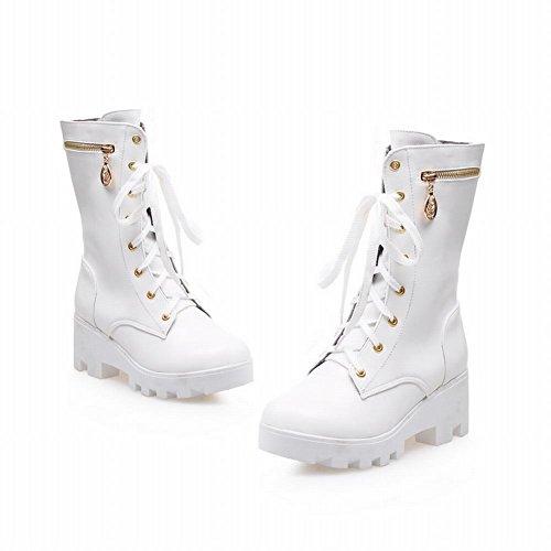 Carolbar Womens Zipper Lace Up Moda Piattaforma Popolare Comfort Stivali Tacco Medio Bianco