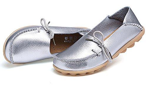Scarpe Da Donna Anbover Plus Size Size Mocassini Piatti In Pelle Casual Comoda Suola In Gomma Slip On Shoes Comoda Suola In Gomma Slip On Shoes Giallo Chiaro