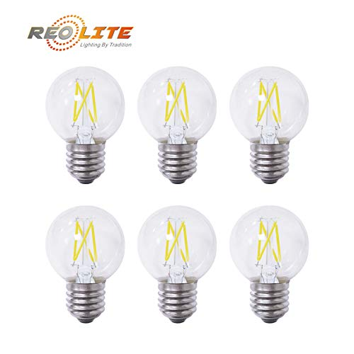 Reo-Lite 6 Pack LED Filament Bulb Dimmable G50/G16.5 Globe 4W LED Light Bulb, E26 Base, Warm White 2700K, 40W Equivalent, 110-120VAC, 400 Lumens