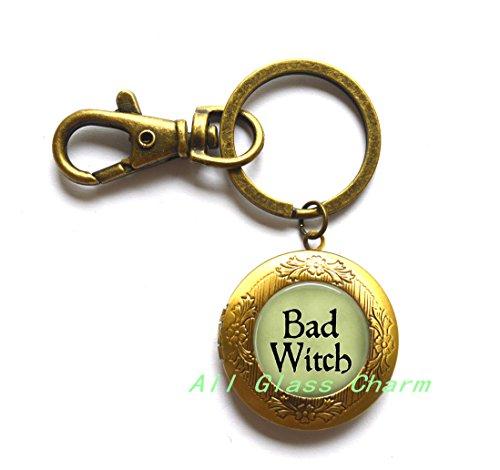 BAD WITCH Locket Keychain Locket Key Ring - Witch Locket Key Ring - Evil Witch Jewelry - Witch Costume Jewelry - Wicked Witch of the West Locket Key Ring,AS0258