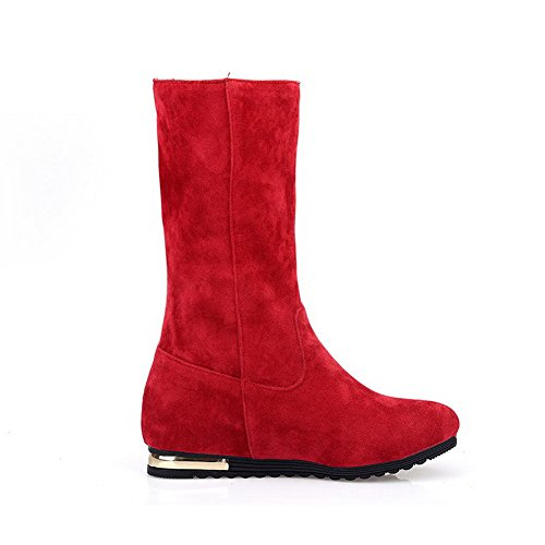 AllhqFashion Womens Solid Low Heels Round Closed Toe Imitated Suede Zipper Boots Red BQfMzfBnO