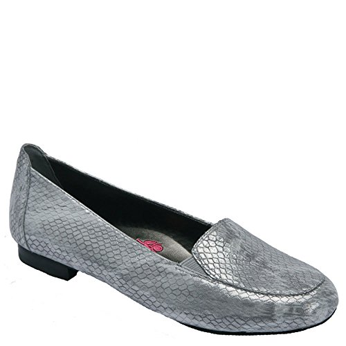 (Ros Hommerson Women's Regan Silver Metallic Snake Print Leather 8.5 M)
