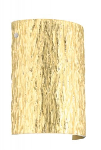 Besa Lighting 7090GF-PN 1X75W A19 Tamburo 8 Wall Sconce with Stone Gold Foil Glass, Polished Nickel Finish