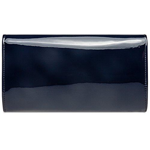 sac à avec CASPAR soirée élégante Pochette cuir chainette TA431 main en vernis Foncé femme Bleu de pour imitation 66RxqP71w
