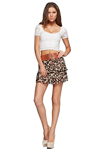 Women's Leopard Chiffon Mini Skirt With built in tie up belt Brown and Black Medium -