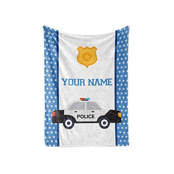 Personalized Custom Police Car Fleece and Sherpa Throw Blanket for Boys, Girls, Kids, Baby – Toddler Police Car Blankets Perfect for Bedtime, Bedding or as Gift (50″ x 60″ – Child)