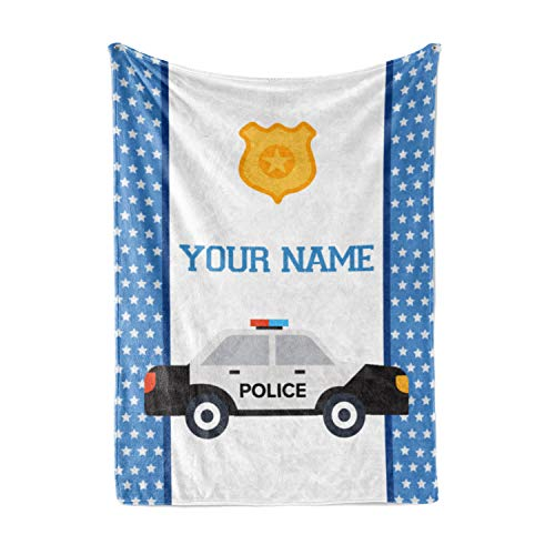 Personalized Custom Police Car Fleece and Sherpa Throw Blanket for Boys, Girls, Kids, Baby - Toddler Police Car Blankets Perfect for Bedtime, Bedding or as Gift (50