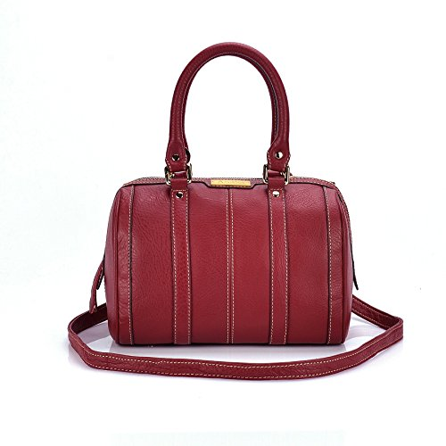 Aretha - Bolso estilo bolera de Piel para mujer Rojo - rojo