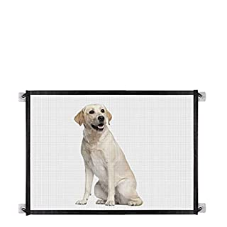 "Baby Gate Magic Gate for Dogs,Queenii Pet Safety Guard Mesh Dog Gate,Portable Folding Baby Safety Gates Install Anywhere, Safety Fence for Hall Doorway Wide 40.4"" -Black"