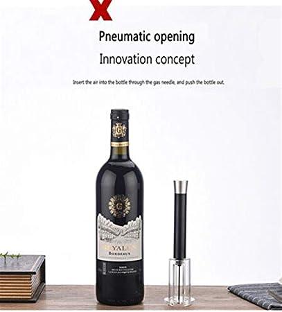JSJJAOL Sacacorchos Botella de Acero Inoxidable abrelatas de Vino Corkscrew Removedor de Aire Easy Air Bomba Práctica Bomba de abridor de Vino (Color : Black)