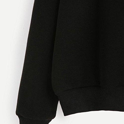 "Vovotrade Mujer Pull-over Blusa Suéter Cuello redondo Impresión Carta Lema Manga larga Casual Camisa de entrenamiento - ""I'm too tired don't talk to me"" Negro"