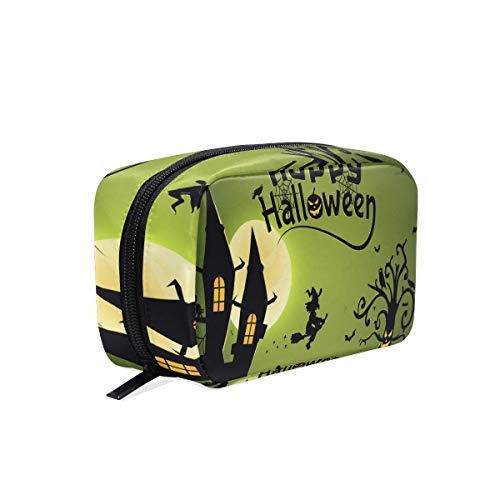 Cosmetic Bag Halloween Witch Wallpaper Customized Makeup Bags Square Organizer Portable Pouch Pencil Storage Case for -