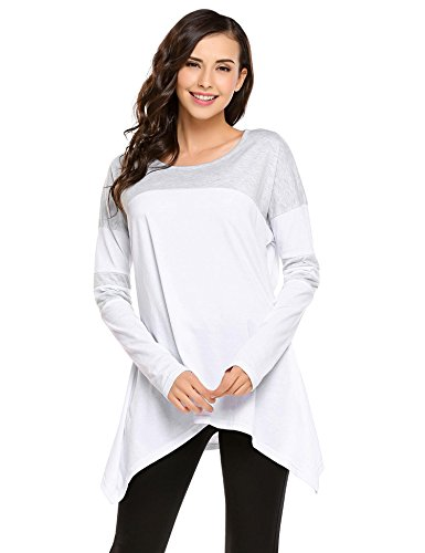 Zeagoo Womens Long Sleeve Comfy A Line Handkerchief Hem Tunic Top Colorblock Blouse Pure White XXL