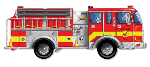 amazon com melissa doug fire truck jumbo jigsaw floor puzzle 24