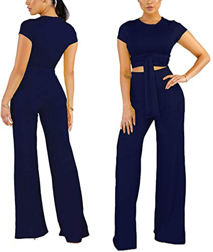 Women's Sexy Two Piece Outfits Jumpsuit Business Casual Slim Top Shirts Wide Leg Pants Set