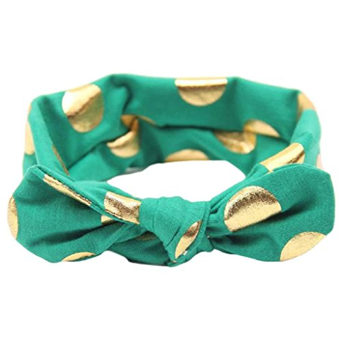 Baby Turban Headbands, Cute Toddler Infant Girls Gold Polka Dots Knotted Elastic Hair Bows Hairbands (Green)