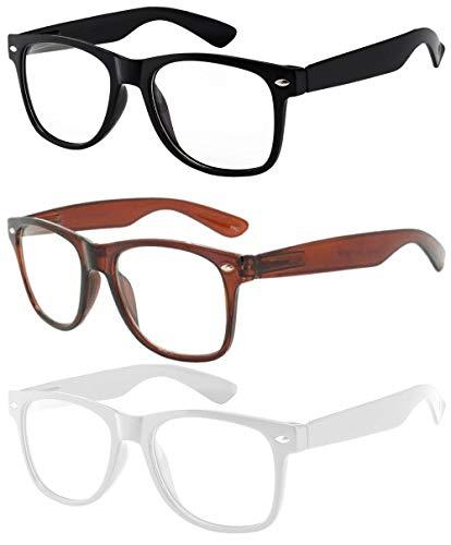 - OWL - Non Prescription Glasses - Clear Lens - 1 Black + 1 Brown + 1 White - UV400 (3 Pack)