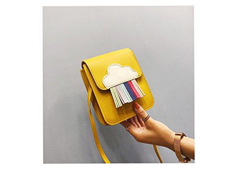 Bolso Yellow De Para Color Azul Nueva Moda Única Dama De Bolsa GWQGZ Franja Hombro Oq0pxZOzwa