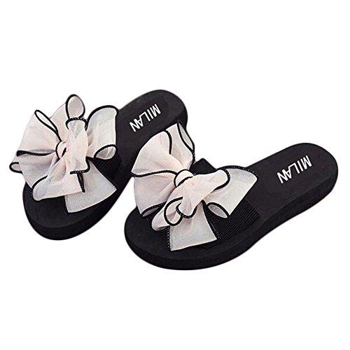 Zapatillas cómodas suaves del bowknot de la gasa de la manera de la mujer apricot