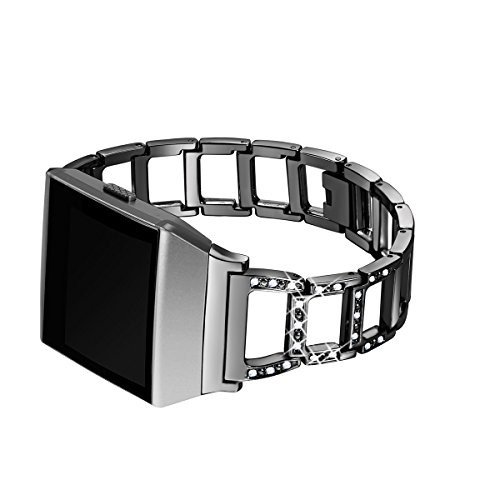 bayite for Fitbit Ionic, Replacement Metal Bracelet Adjustable Fitbit Ionic Bands Black with Rhinestone