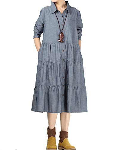 Pleated Denim Jacket (Mordenmiss Women's Polo Collar A-line Cups Cake Pleated Flare Shirtdress Style 1-denim blue-L)