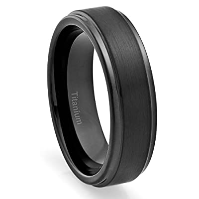 6MM Titanium Ring Wedding Band Black Plated, Brushed Top and Grooved Polished Edges
