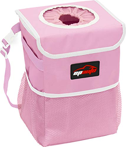 EPAuto Waterproof Car Trash Can with Lid and Storage Pockets, Pink