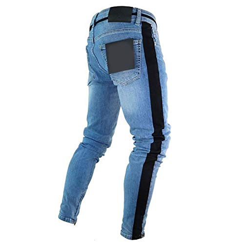Da Piedi Scoppio Cerniera Tendenza Mens Uomo Zipper Slim Piccoli Light Ginocchio Del Skinny Blue6 Buco Jeans Purebesi dtqTSwT