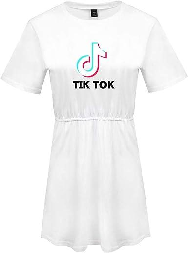 Vestidos Mujer TIK Tok Impresión Vestido Camiseta de Manga Corta y Cuello Redondeado Casual Verano Color Sólida Mini Vestidos Swing Vestido Túnica: Amazon.es: Ropa y accesorios