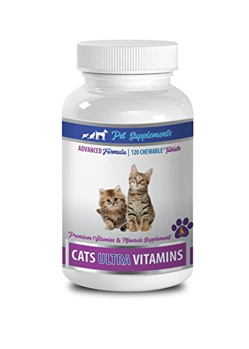 PET SUPPLEMENTS cat liver support - CATS ULTRA VITAMINS - PREMIUM VITAMINS AND MINERALS - CHEWABLE - vitamin c for cats - 1 Bottle (120 Chews)