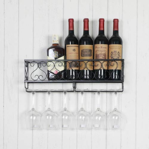 Warm Van Metal Wall Mounted Wine Rack for Bar,6 Long Stem Bottle and Glass Holder for Home Kitchen or Dining,Wine Accessories Cork Storage Organization Store
