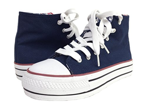 Soda Women's Krono Lace Up High Top Fashion Sneakers with White Rubber Sole, navy canvas, 7.5 M US