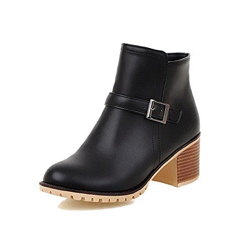 Soft Kitten Women's Boots Material Zipper Heels Black Solid Allhqfashion Low Top w1x6ffq5